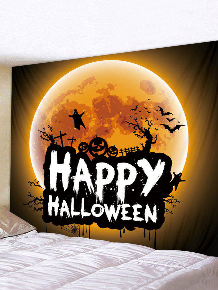 Digital Printing Moon Halloween Waterproof Tapestry - multicolor W59 X L59 INCH