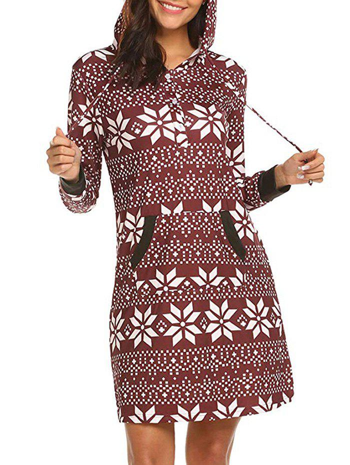 Geo Print Button Placket Hoodie Dress - RED M