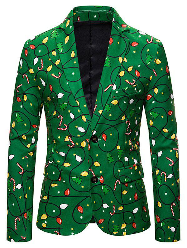 Christmas Tree Candy Single Breasted Casual Blazer - multicolor M