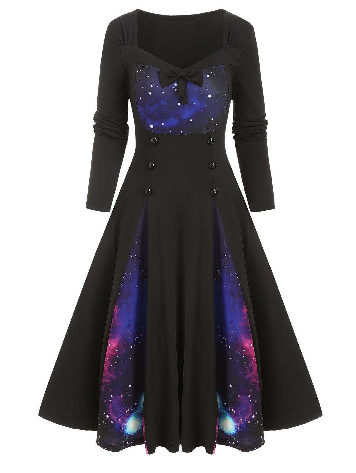 Sweetheart Neck Galaxy Print Buttoned Midi Dress - BLACK S