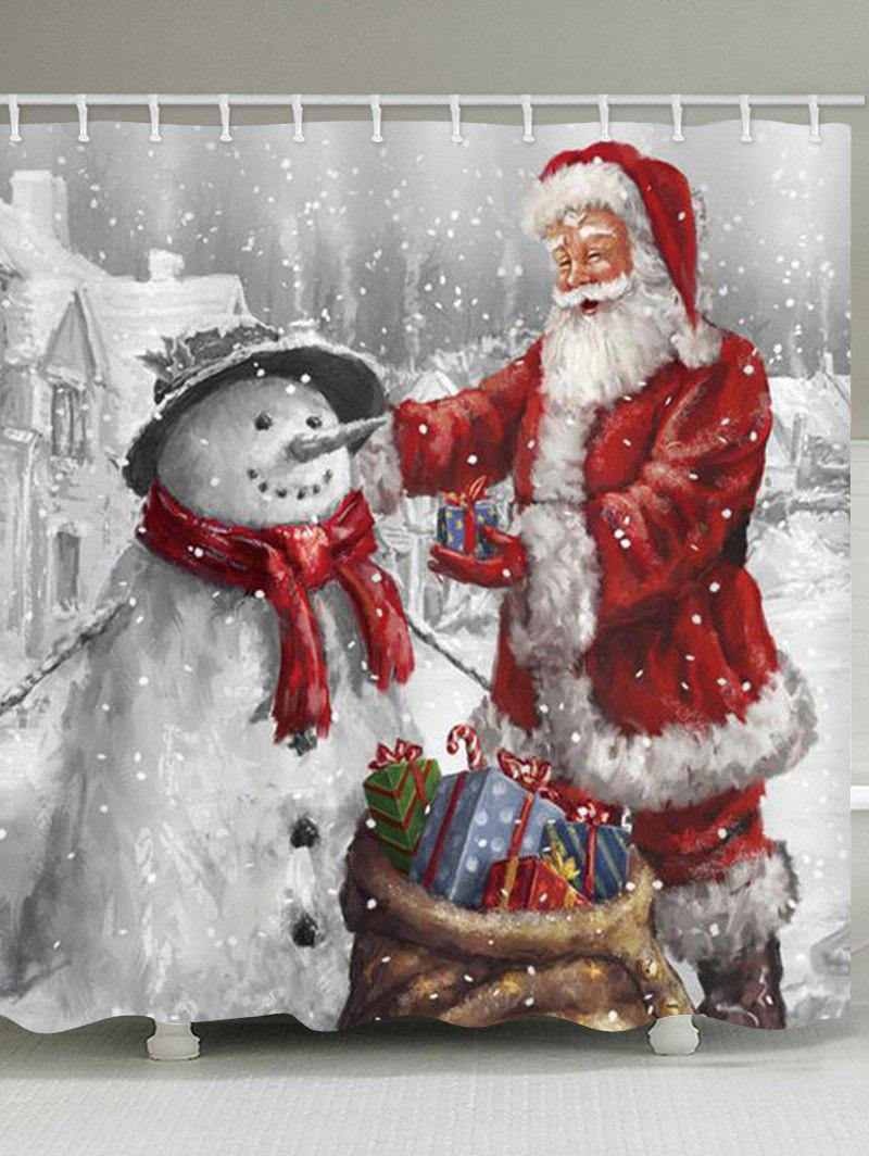 Christmas Santa Claus and Snowman Print Waterproof Bathroom Shower Curtain - multicolor W71 X L71 INCH
