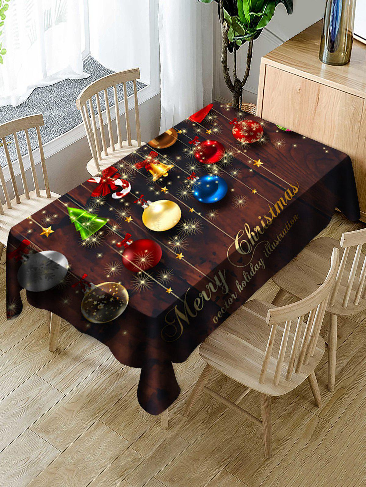 Christmas Bells Letter Digital Print Fabric Tablecloth - multicolor W60 X L102 INCH