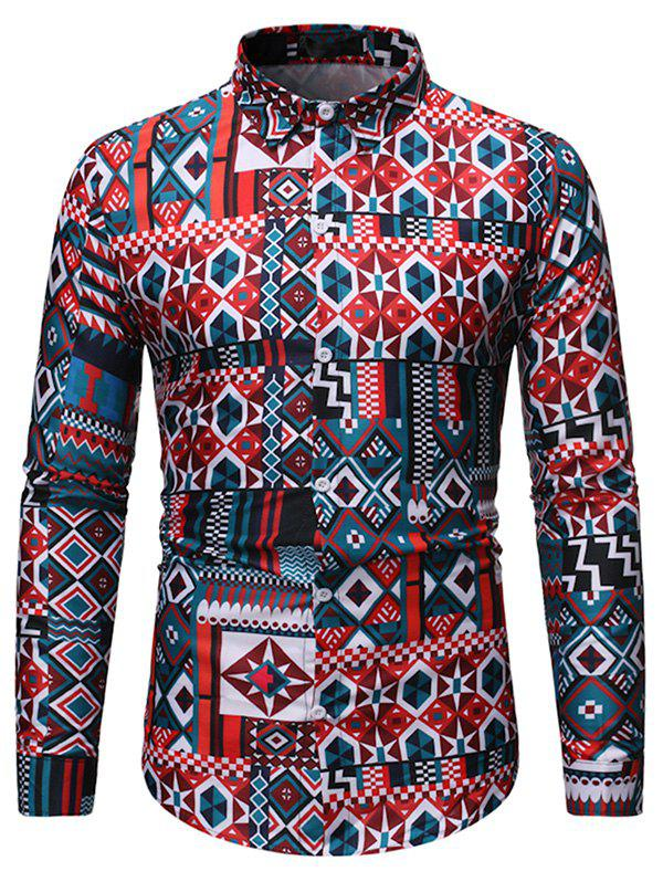 Geometric Pattern Long-sleeved Button Down Shirt - multicolor A 2XL