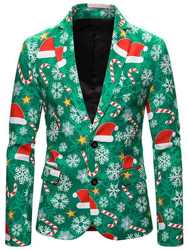 Christmas Hat Snowflake Single Breasted Casual Blazer - multicolor M