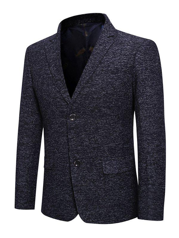 Pocket Décoration boutonnage simple Blazer Casual - Bleu de Minuit L
