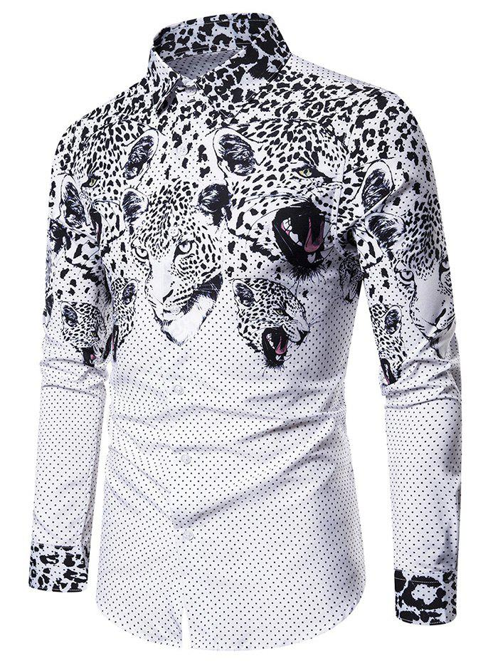 Leopard Printed Long Sleeves Button Shirt - WHITE 2XL