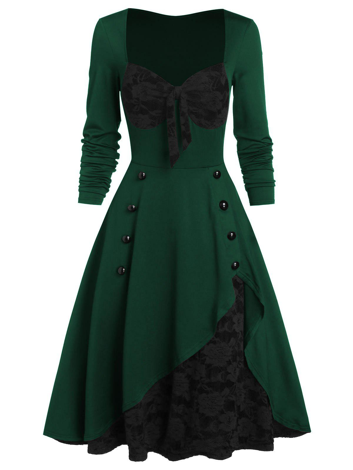 Flower Lace Insert Mock Button Bowknot Vintage Dress - DEEP GREEN XL