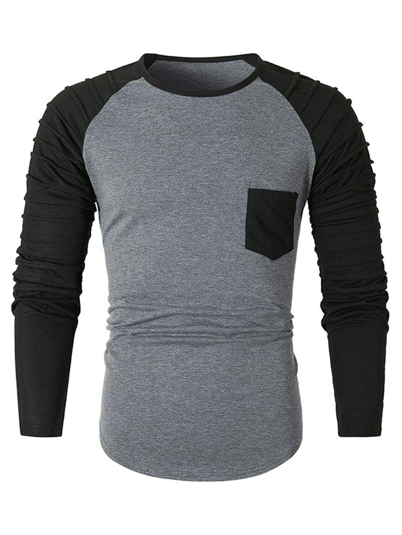 Pleated Raglan Sleeve Colorblock Spliced Chest Pocket T-shirt - DARK GRAY 2XL