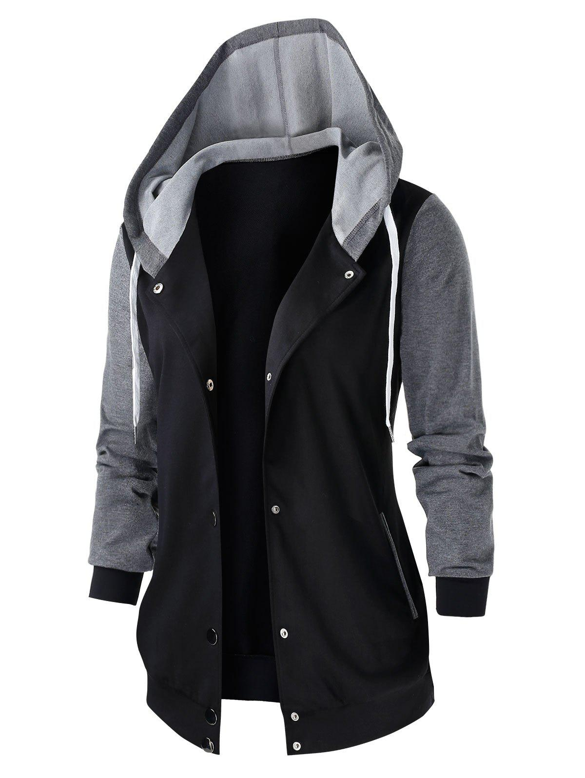 Plus Size Colorblock Hooded Tunic Jacket - BLACK L
