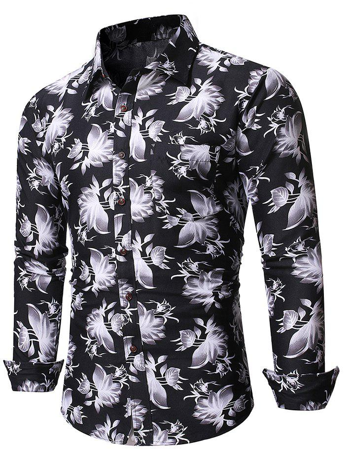 Chinese Ink Floral Print Pockets Button Up Shirt - BLACK 2XL