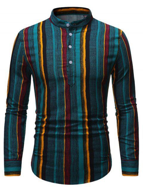 Retro Vertical Striped Stand Collar Henley Shirt - multicolor 2XL