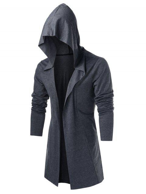 Hooded Open Front Heathered Cardigan - GRAY L