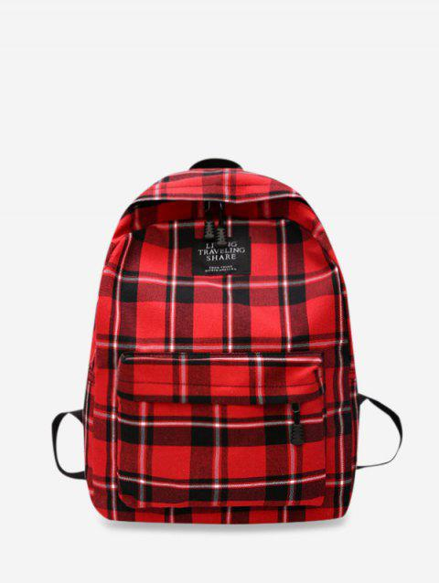 Grid Pocket Design Casual Student Chic Backpack - ROSSO RED