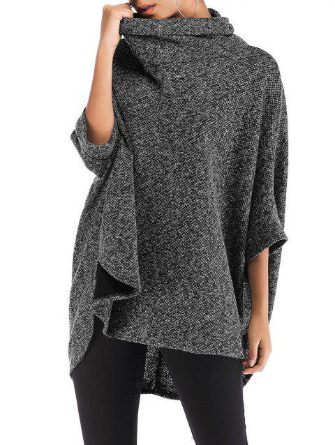 Turtleneck Heathered High Low Poncho Sweater - BLACK ONE SIZE