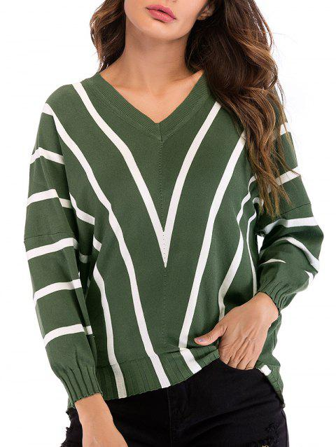 Striped Batwing Knitwear - DEEP GREEN XL
