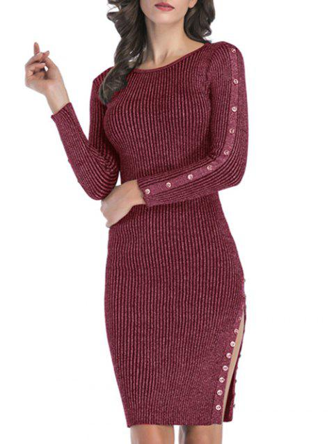 Metallic Thread Ribbed Buttons Bodycon Jumper Dress - RED WINE L