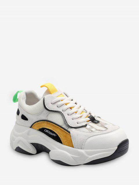 Color-blocking Breathable Lace Up Dad Sneakers - BEE YELLOW EU 35