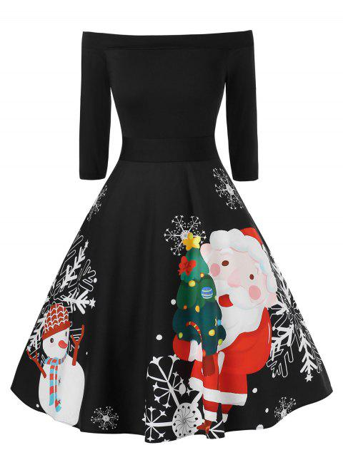 Plus Size Off The Shoulder A Line Christmas Printed Dress