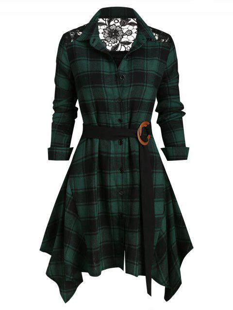 Lace Panel Plaid Button Up Belted Shirt - DEEP GREEN L