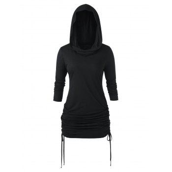 Plus Size Hooded Cinched Tunic T Shirt