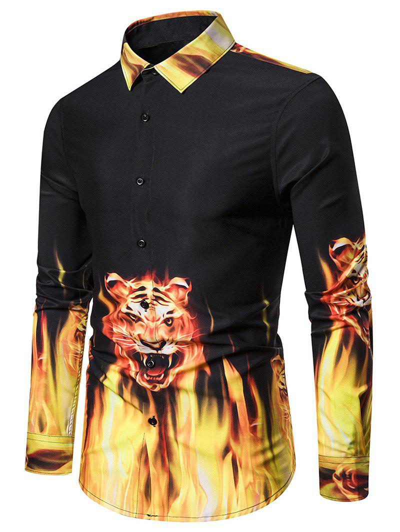 Tiger Flame Pattern Long-sleeved Shirt - BLACK M