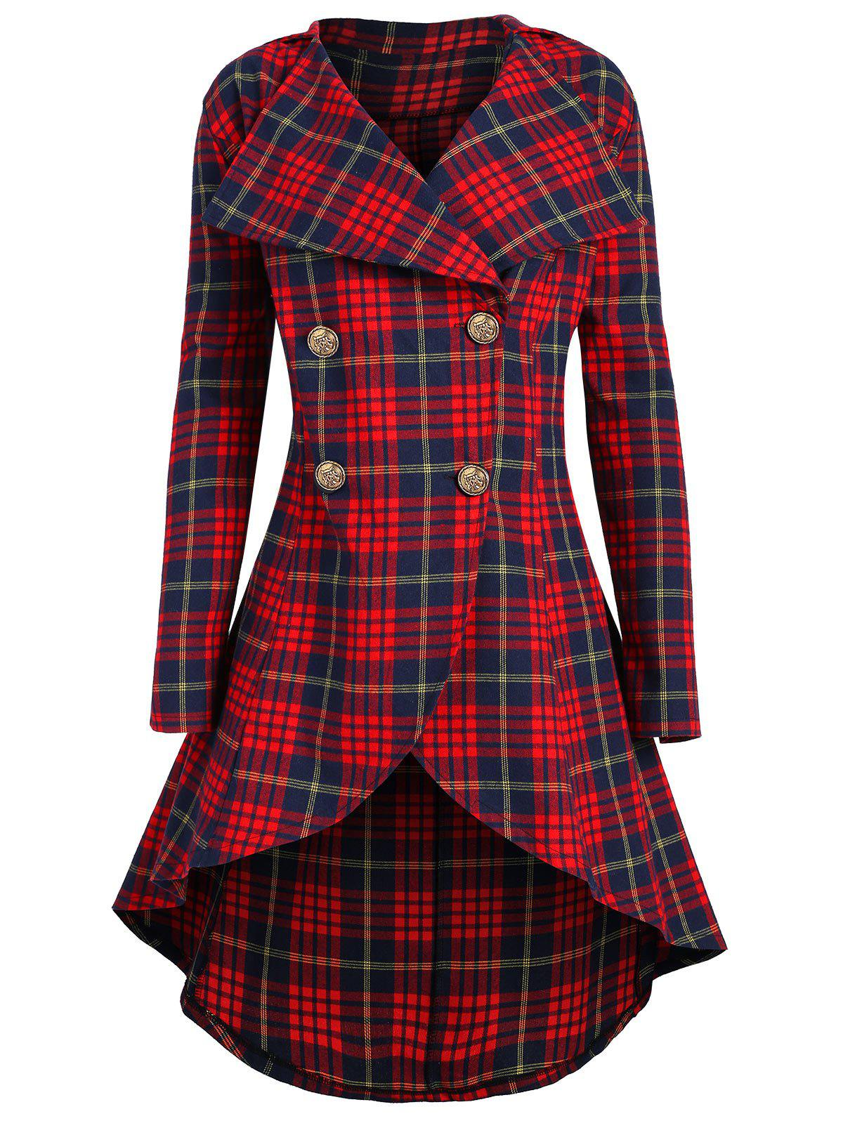 Plus Size Plaid High Low Skirted Coat - RED 2X