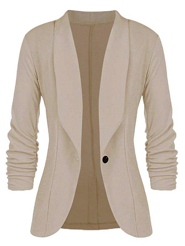 Plus Size One Button Shawl Collar Blazer - Kaki 1X