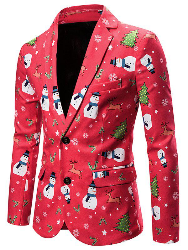 Christmas Snowman Deer Single Breasted Casual Blazer - multicolor 2XL