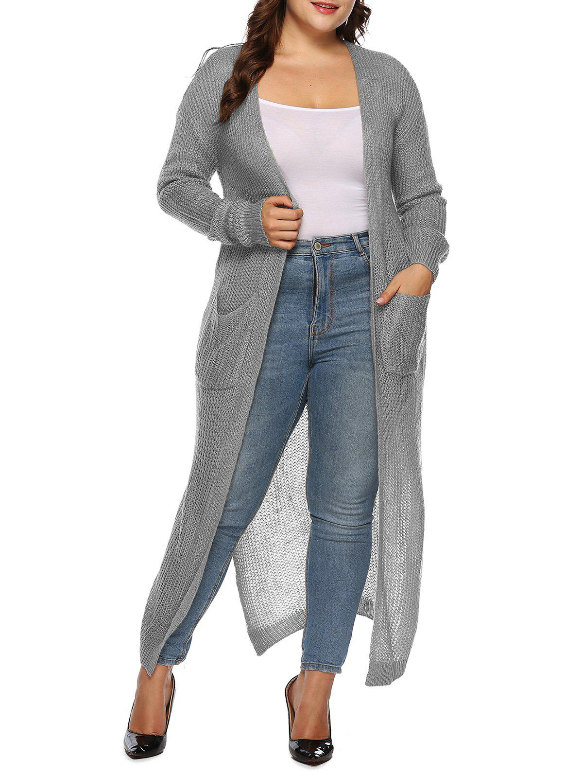 Ouvrez Placket Double Pocket Slit Plus Size Cardigan Longline - Oie grise 1X