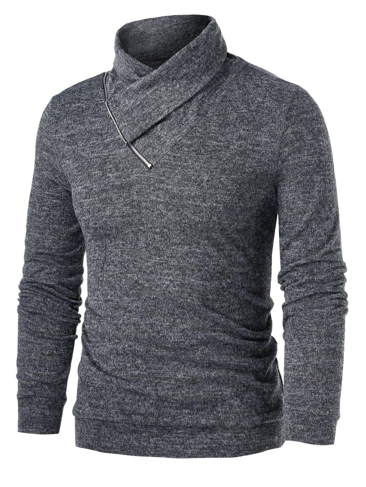 Quarter Zip Heathered Pullover Sweater - CARBON GRAY 3XL