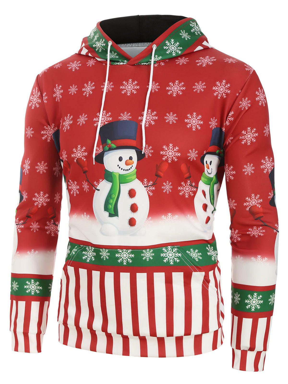 Striped And Snowman Graphic Front Pocket Hoodie - RED XL