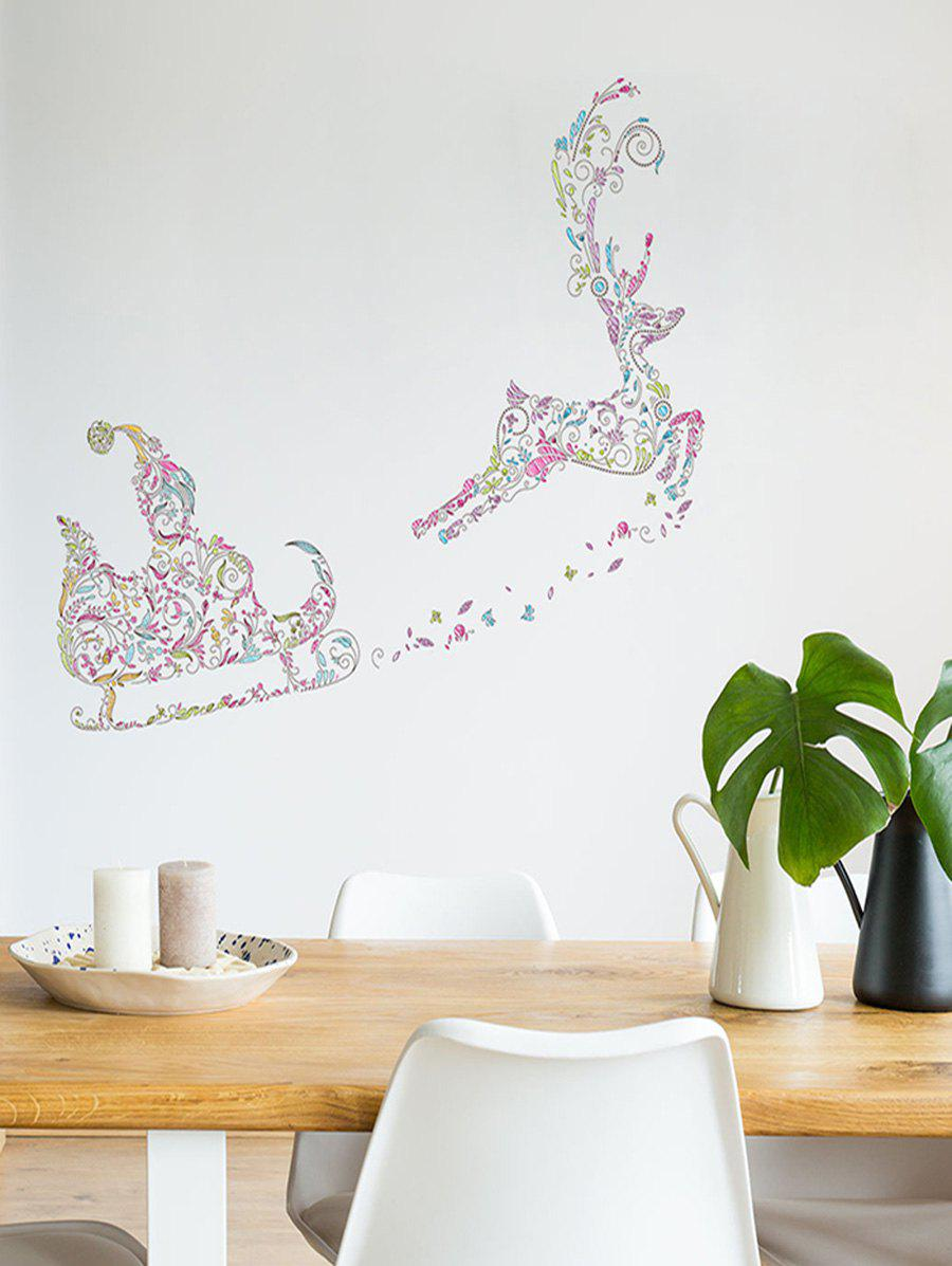 Christmas Deer Sleigh Print Decorative Wall Art Stickers - multicolor 45*60CM