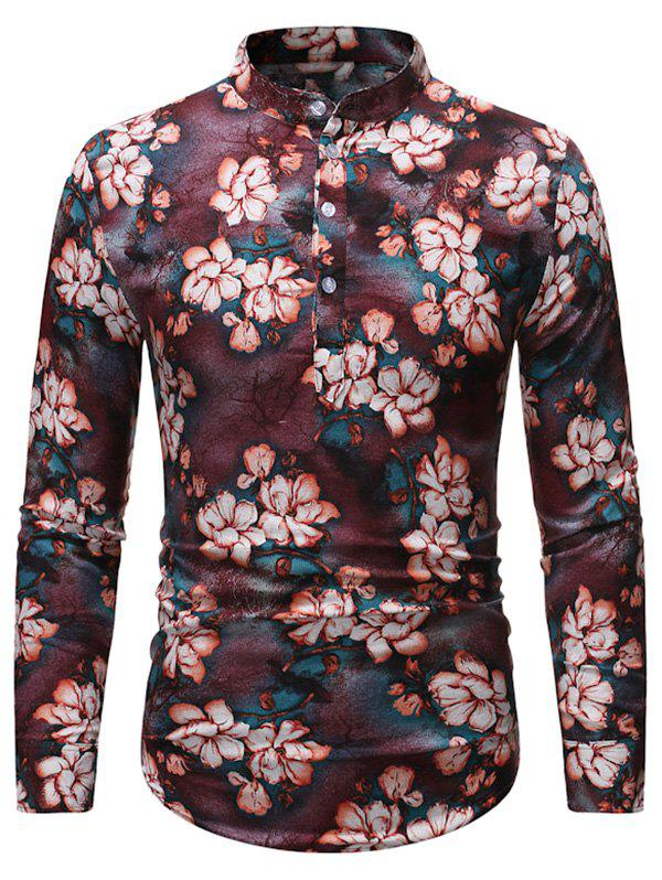 Vintage Floral Print Stand Collar Henley Shirt - multicolor XL