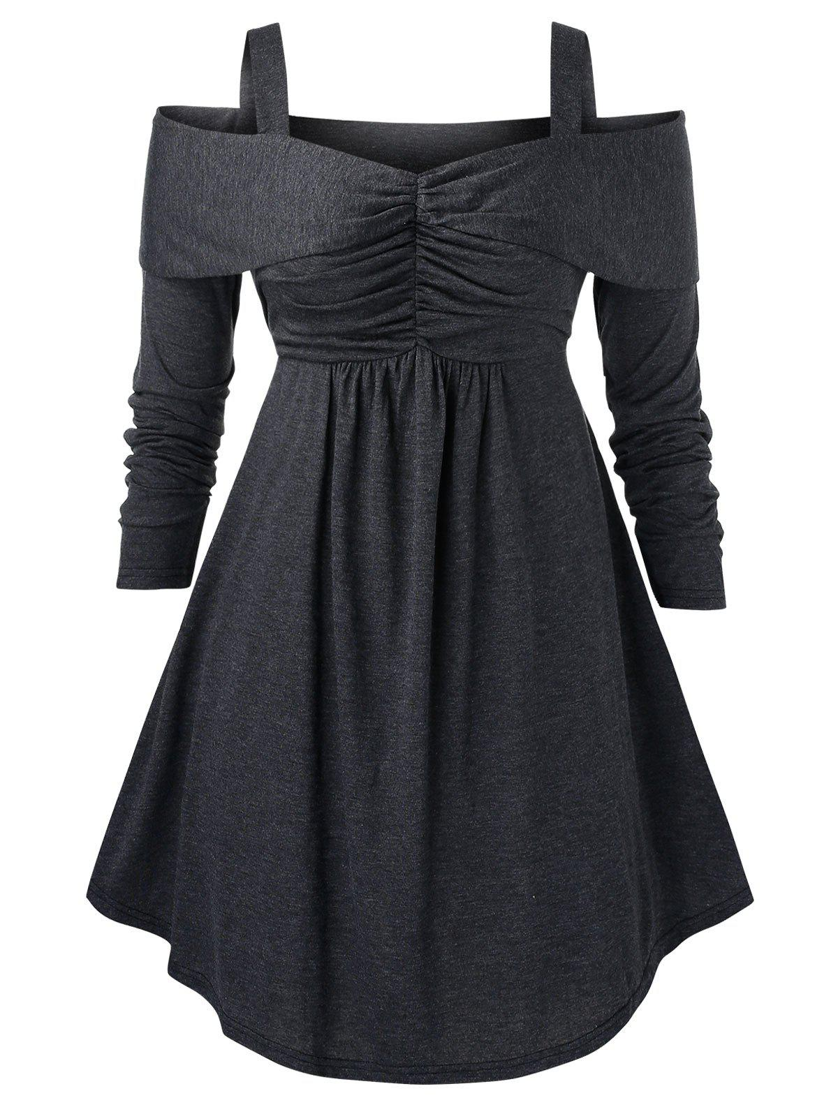 Plus Size Open Shoulder Tunic Solid Sweater - CARBON GRAY 4X