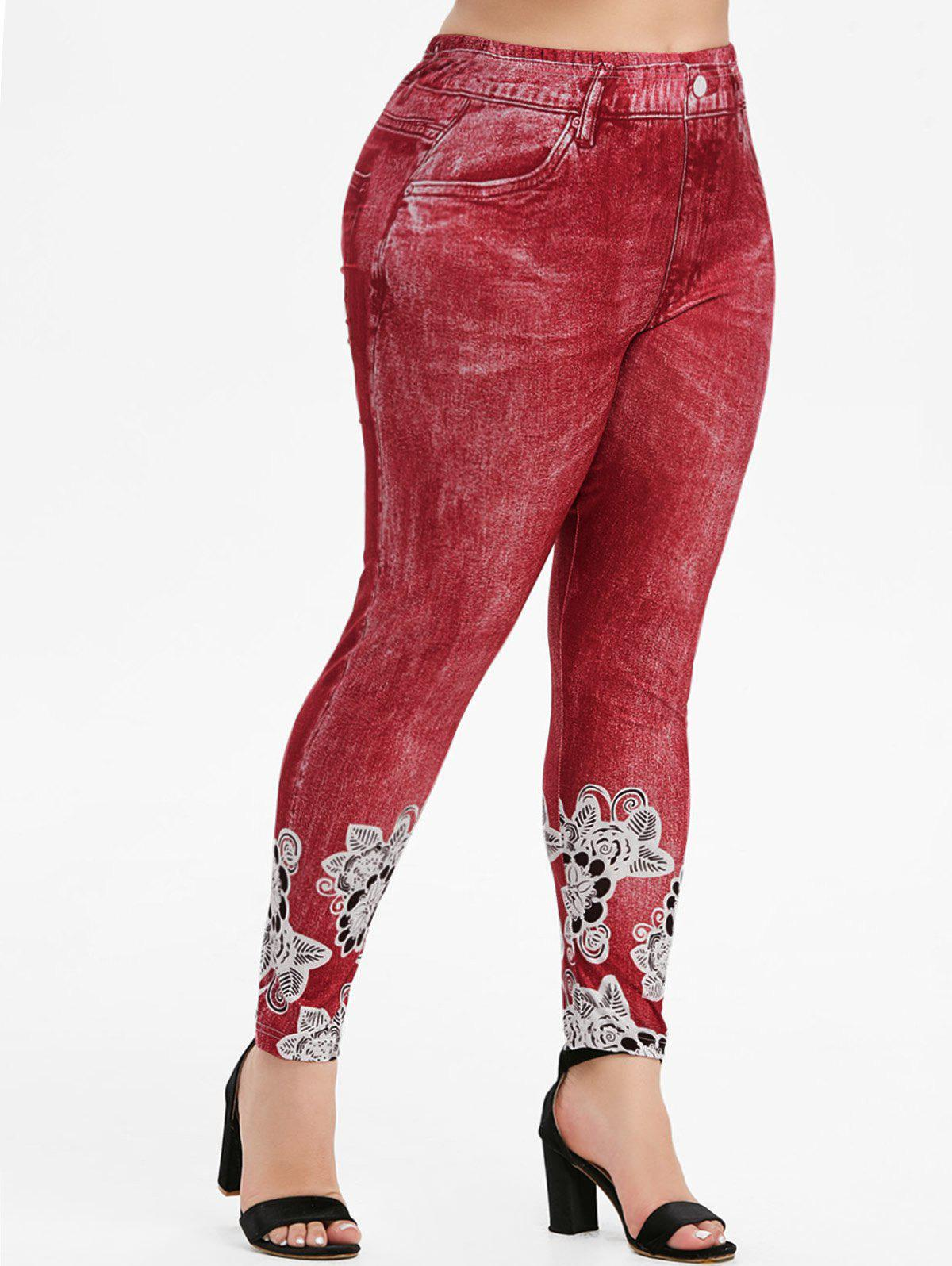 Floral 3D Printed High Waisted Pull On Plus Size Jeggings - RED 5X