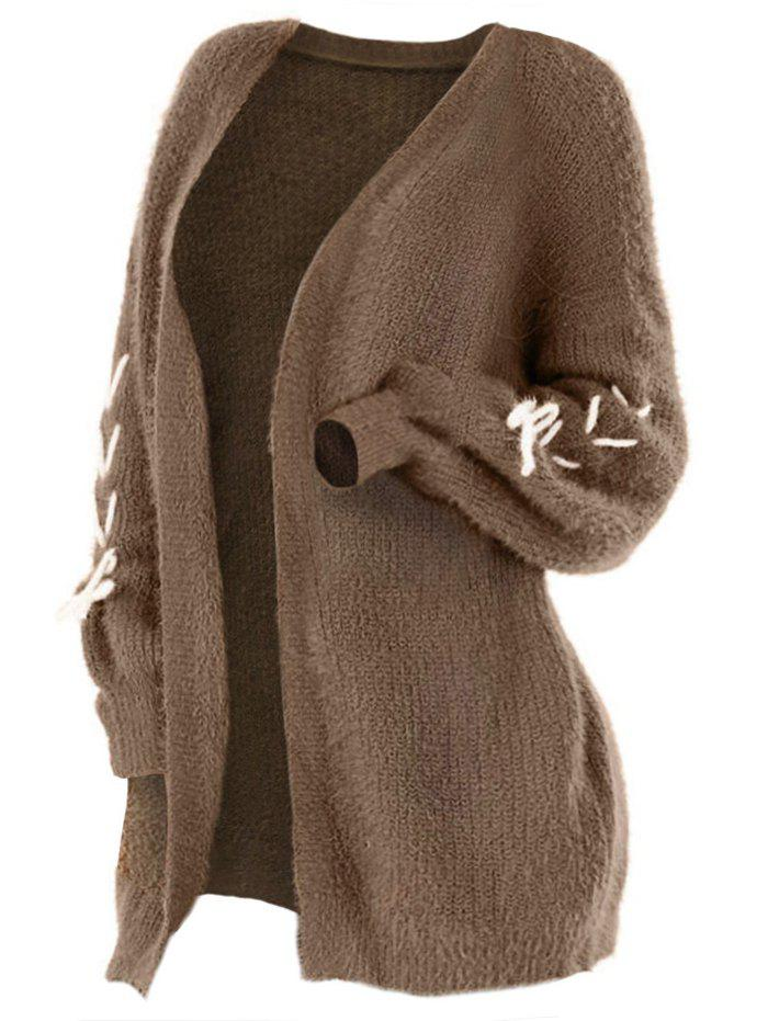Plus Size Lace Up Collarless Cardigan - BROWN L
