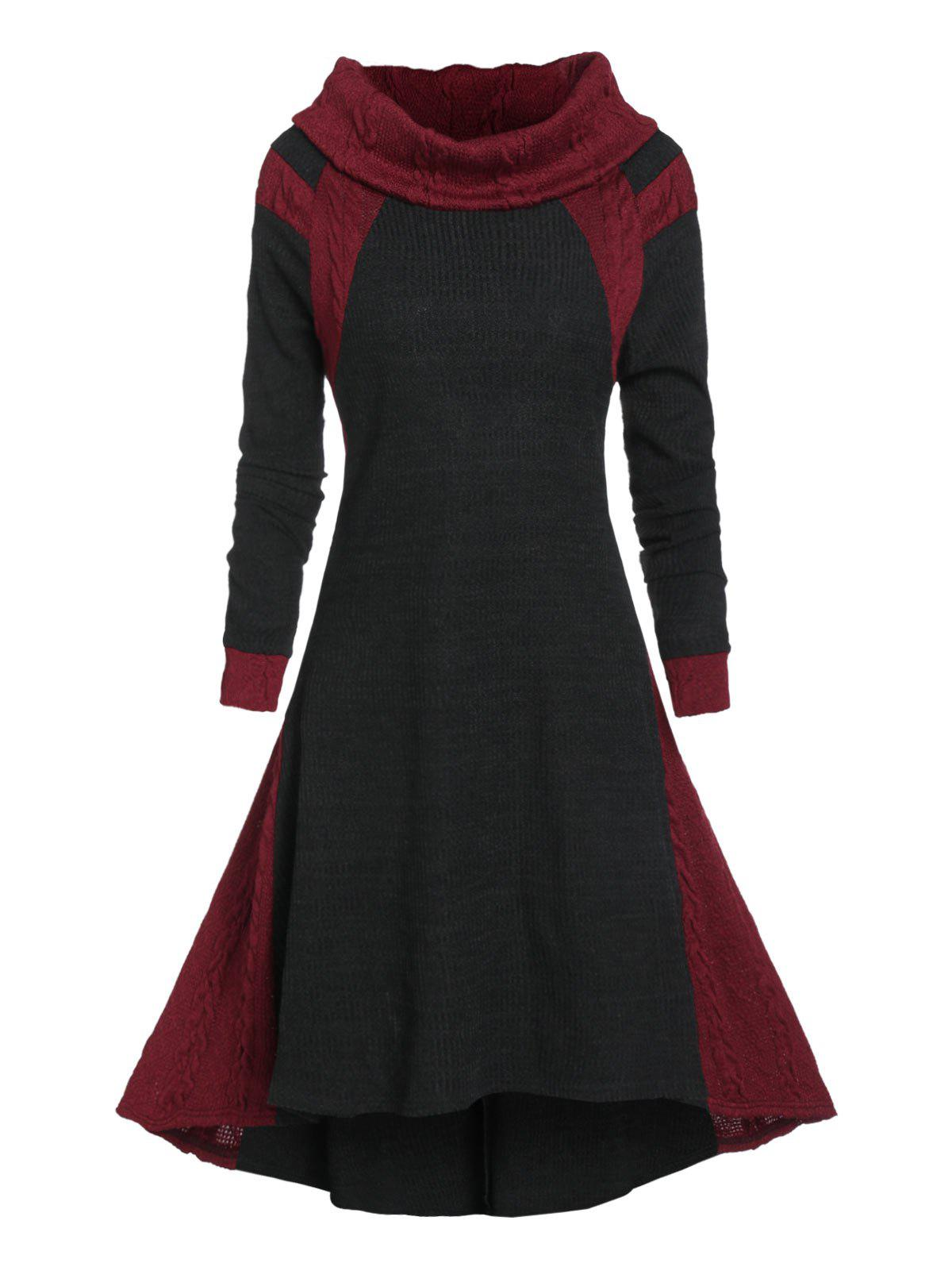 Contrast Color High Low Cable Knit Sweater Dress - multicolor A 2XL
