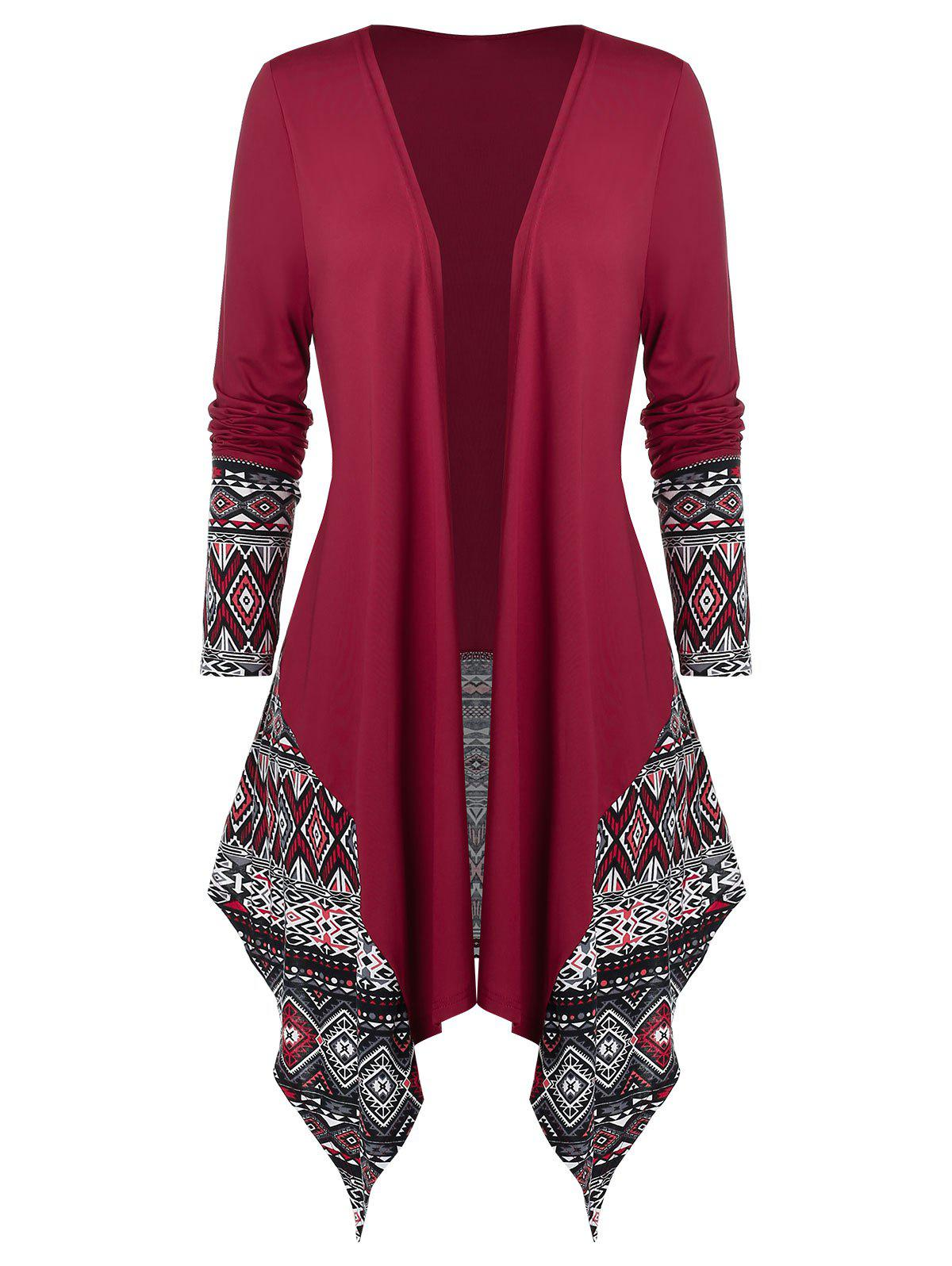 Plus Size Open Draped Ethnic Print Asymmetrical Cardigan - multicolor 1X
