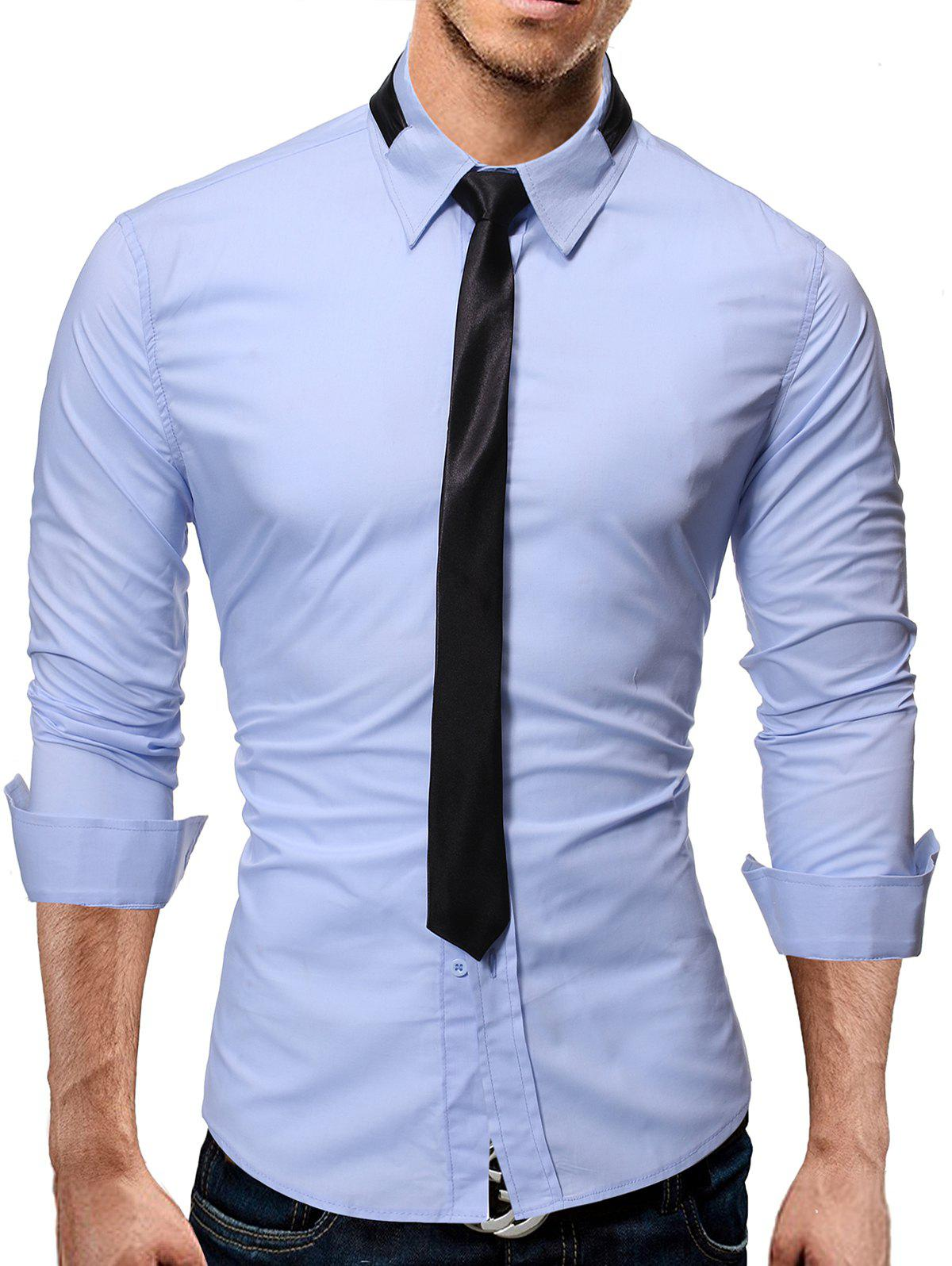 Solid Long Sleeve Slim Fit Button Up Shirt - LIGHT BLUE M