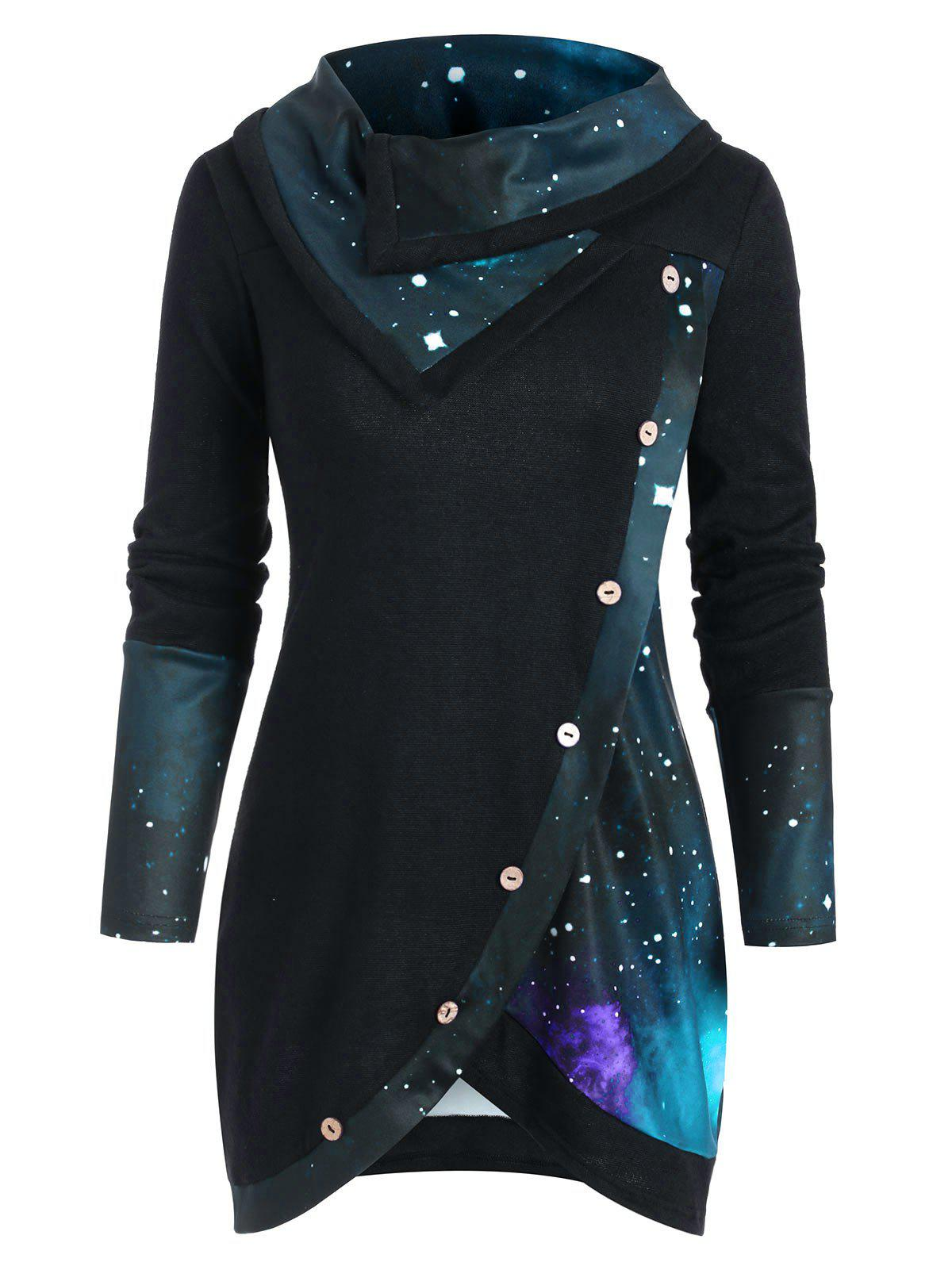 Cowl Neck Galaxy Print Panel Tunic Sweater - GREENISH BLUE XL