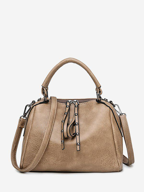 Casual Solid Rivet PU Shoulder Handbag - KHAKI