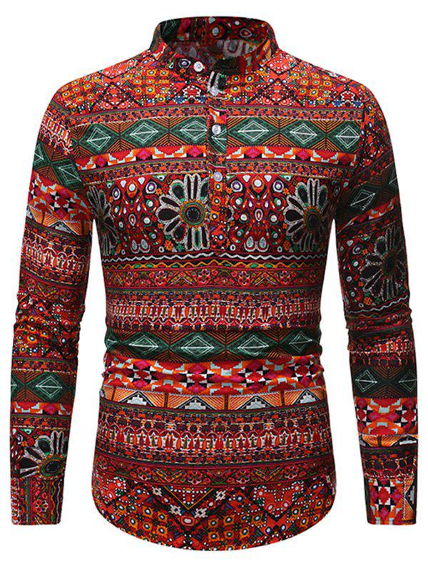 Ethnic Geometric Pattern Stand Collar Henley Shirt - multicolor A 2XL