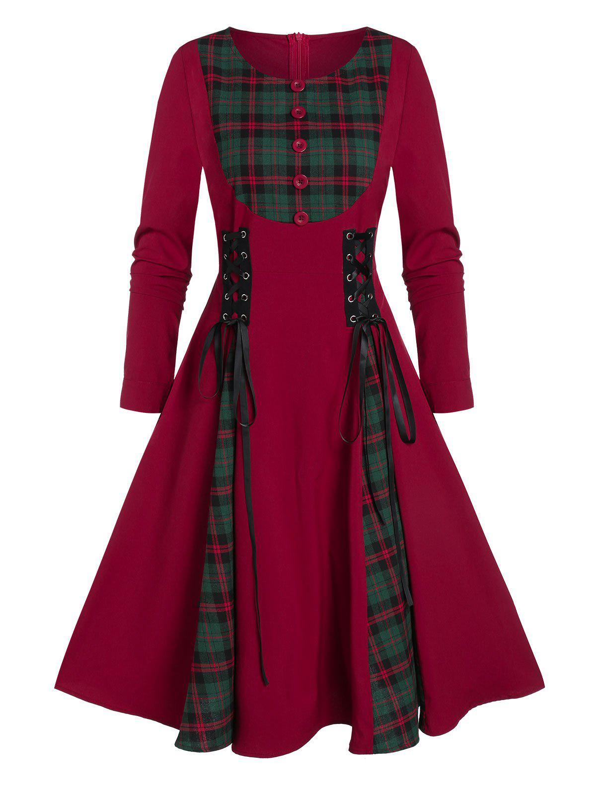 A Line Zippered Plaid Panel Lace Up Dress - RED WINE L