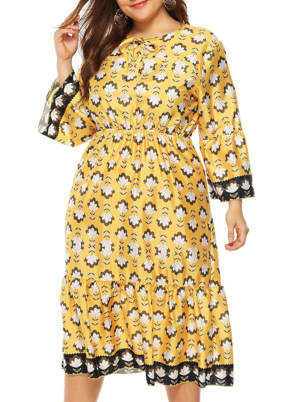 Floral Tie Collar Long Sleeve Plus Size Dress - YELLOW 2X