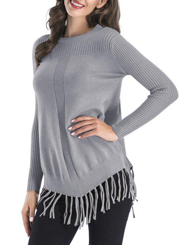 Ribbed Fringed Tunic Sweater - GRAY L