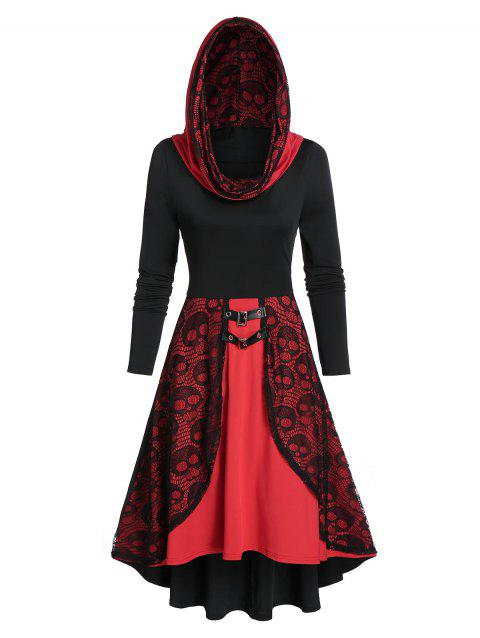 Hooded Skull Print High Low Dress - multicolor A 3XL