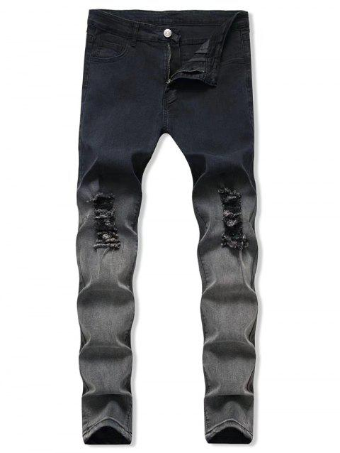Ombre Destroyed Zip Fly Jeans - multicolor S