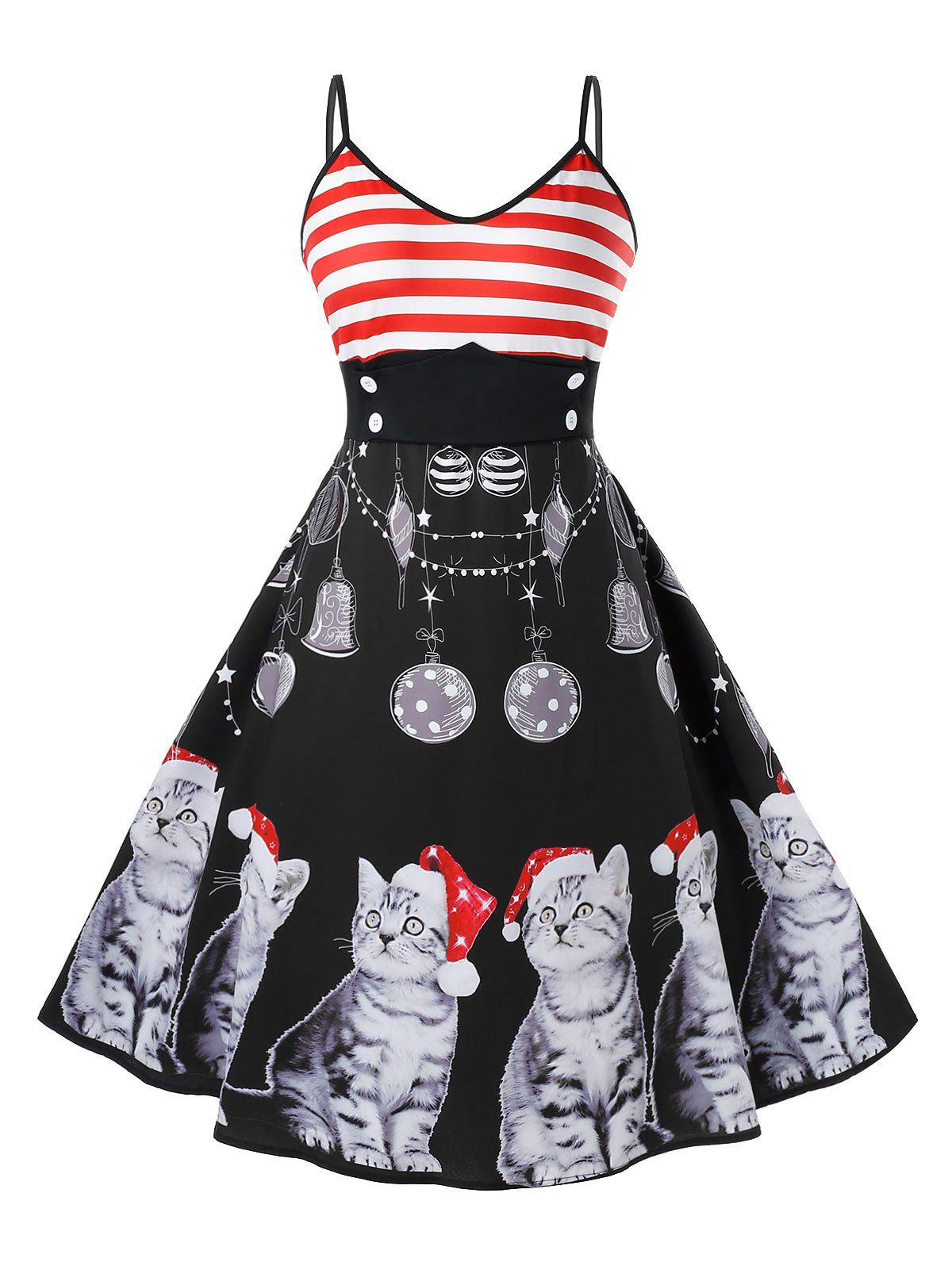 Plus Size Vintage Cat Print Christmas Swing Dress - BLACK 2X