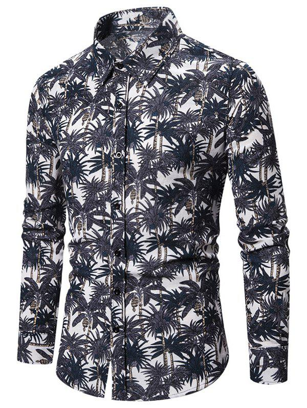Tropical Palm Tree Allover Print Button Up Shirt - BLUE 3XL