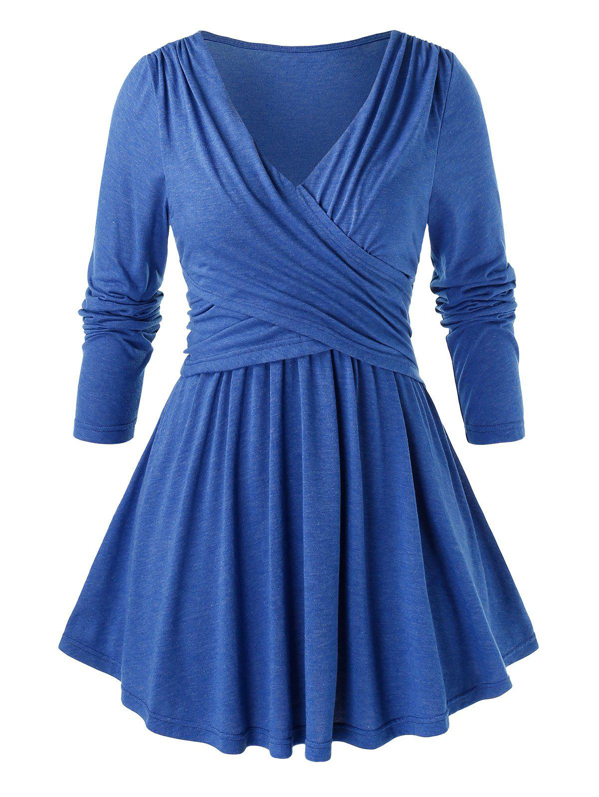 Plus Size V Neck Solid Pleated T Shirt - DODGER BLUE 1X
